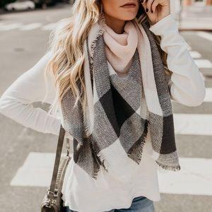 Pink & Gray Plaid Blanket Scarf